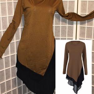 Asymmetrical Chiffon Long Blouse - Brown - L